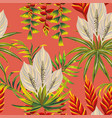 tropical composition on red background vector image
