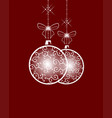white christmas ball on red background vector image vector image