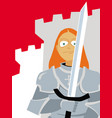 young girl in armor with a sword in his hands vector image