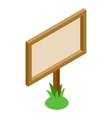 Signboard in the grass 3D isometric icon vector image