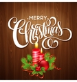 Christmas wooden background with burning candles vector image