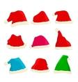 Set of bright Santa Claus hats on Christmas and vector image