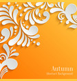 Abstract Autumn Orange Background with 3d Floral vector image