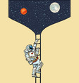 an astronaut goes into space to moon and mars vector image