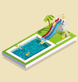 aqua park waterslide composition vector image vector image