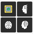 artificial intelligence icons set vector image vector image