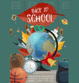 back to school stationery and locker poster vector image vector image