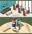 barbershop isometric banners vector image vector image