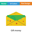 Birthday gift envelop icon with money vector image vector image