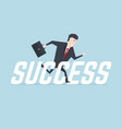 businessman running with success message vector image vector image