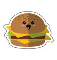Cartoon burger fast food vector image