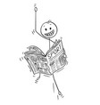 cartoon of happy businessman reading good sport vector image vector image