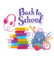 colorful of blue backpack pile of books ap vector image