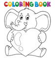 coloring book elephant holding heart vector image vector image