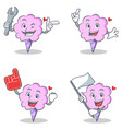 cotton candy character set with mechanic foam vector image vector image