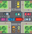 crossroad top view road intersection with vector image vector image