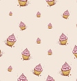 Cupcakes with pink cream Hand drawn sketch on pink vector image vector image