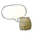 cute cartoon sad bear and speech bubble in smooth vector image vector image