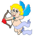 cute cupid with bow vector image