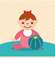 cute little girl with rubber ball toy vector image