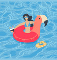 cute summer time beach girl swimming on pink vector image vector image