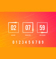 digital clock timer for coming soon web element vector image