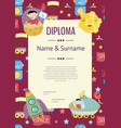 diploma cartoon template vector image vector image