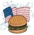 doodle americana hamburger vector image vector image