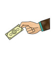 drawing hand man business with banknote money vector image