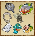 Fish set traps jaw and other image of piranha vector image vector image