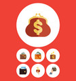 flat icon purse set of payment billfold finance vector image vector image