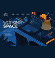 flat modern design working space vector image vector image