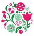 floral folk art design scandinavian pattern vector image