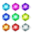 gems crystal and diamonds icons vector image vector image