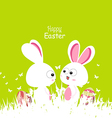 happy easter green spring with bunny couple and vector image vector image