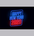 happy new year 2020 in neon style background vector image