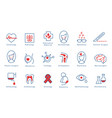 hospital departments icons set vector image