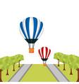 hot air balloosn flying street trees vector image vector image
