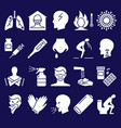 influenza and covid19 symptoms icon set in flat vector image vector image