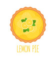 lemon pie with coconut flakes on white background vector image vector image