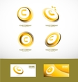 Letter c gold circle set icon vector image