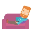 Man sitting on the couch with remote control vector image vector image