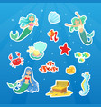marine life cute stickers collection cute little vector image vector image