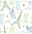 Paris Streets Blue Green Drawing Seamless vector image