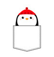 penguin head face red hat t-shirt pocket merry vector image vector image