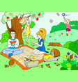 picnic in nature color book for children cartoon vector image vector image