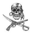 pirate skull bandanna vector image vector image