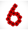 poppies number six vector image vector image