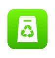 recycle shopping bag icon digital green vector image vector image