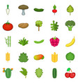 salad icons set cartoon style vector image